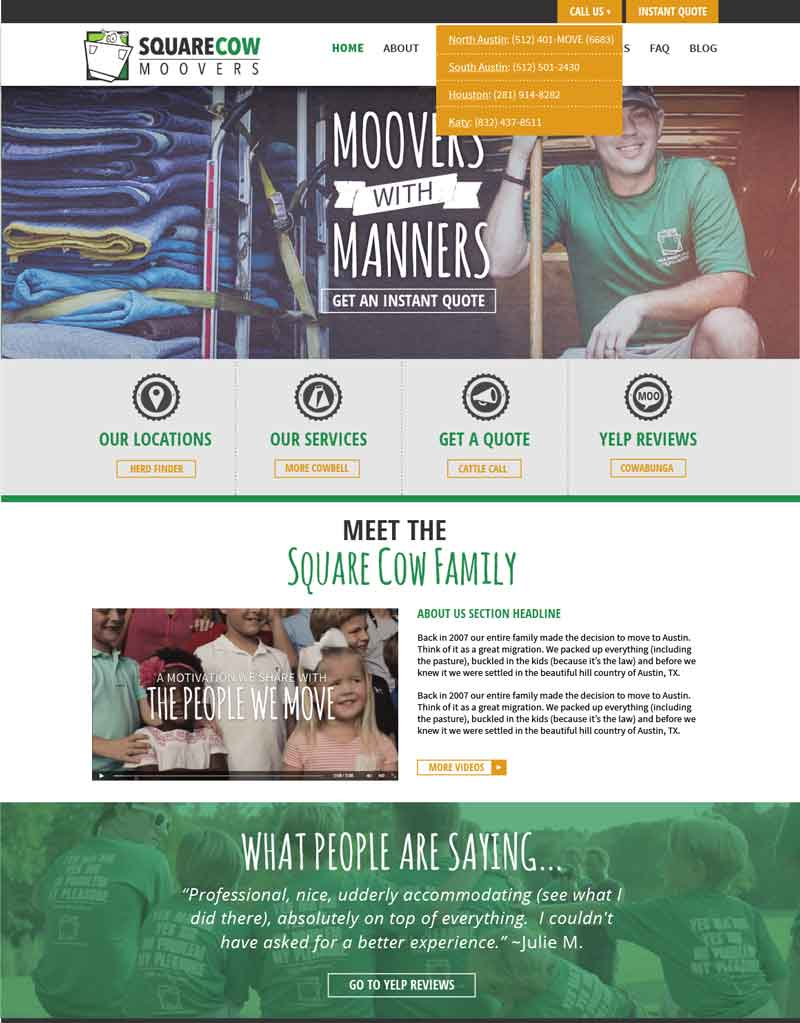 Case Study: Square Cow Moovers Powerful New Website