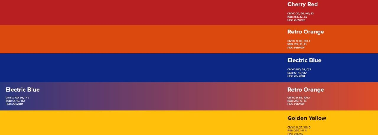 a palette of colors from a brand style guide